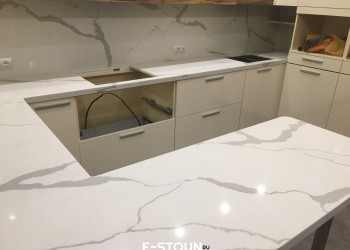 Столешница на кухню из кварцевого камня Samsung Radianz MW123 Monaco White