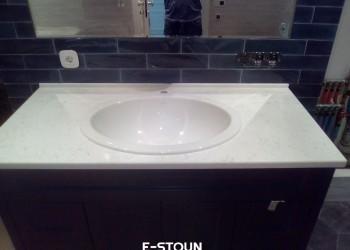 Столешница из кварца Technistone Areti Bianco Noble в ванную комнату