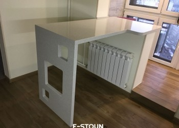 Столешница из камня на кухню с барной стойкой: материал кварцевый агломерат Samsung Radianz GG900 Gentle Gray