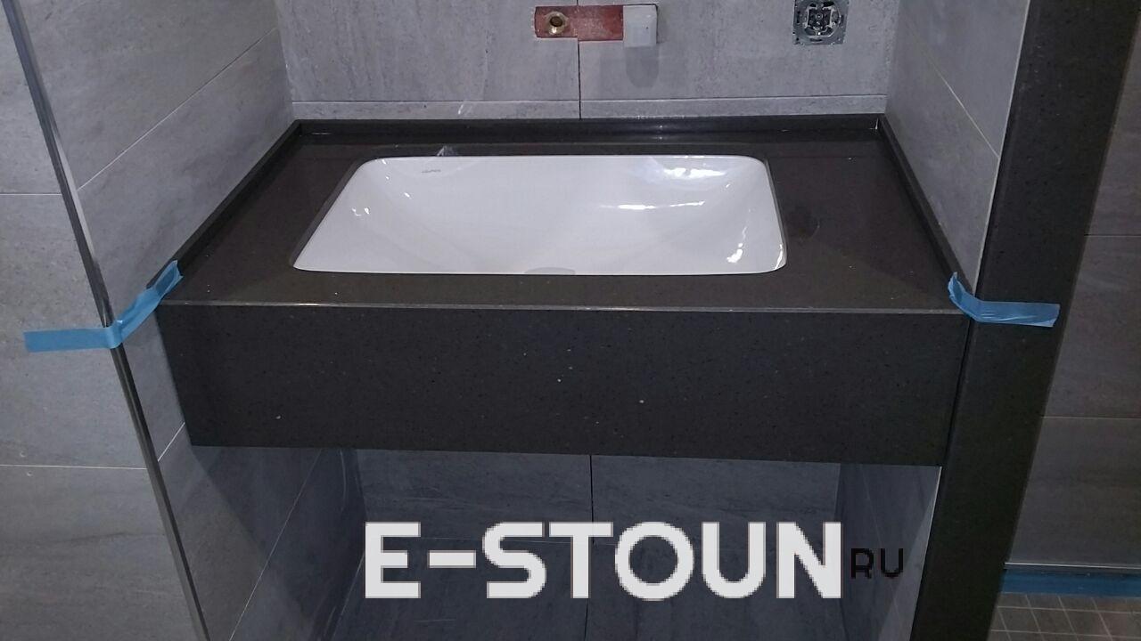 Небольшая столешница в ванную комнату из остатков камня Samsung Radianz AE498 Alpine Umber
