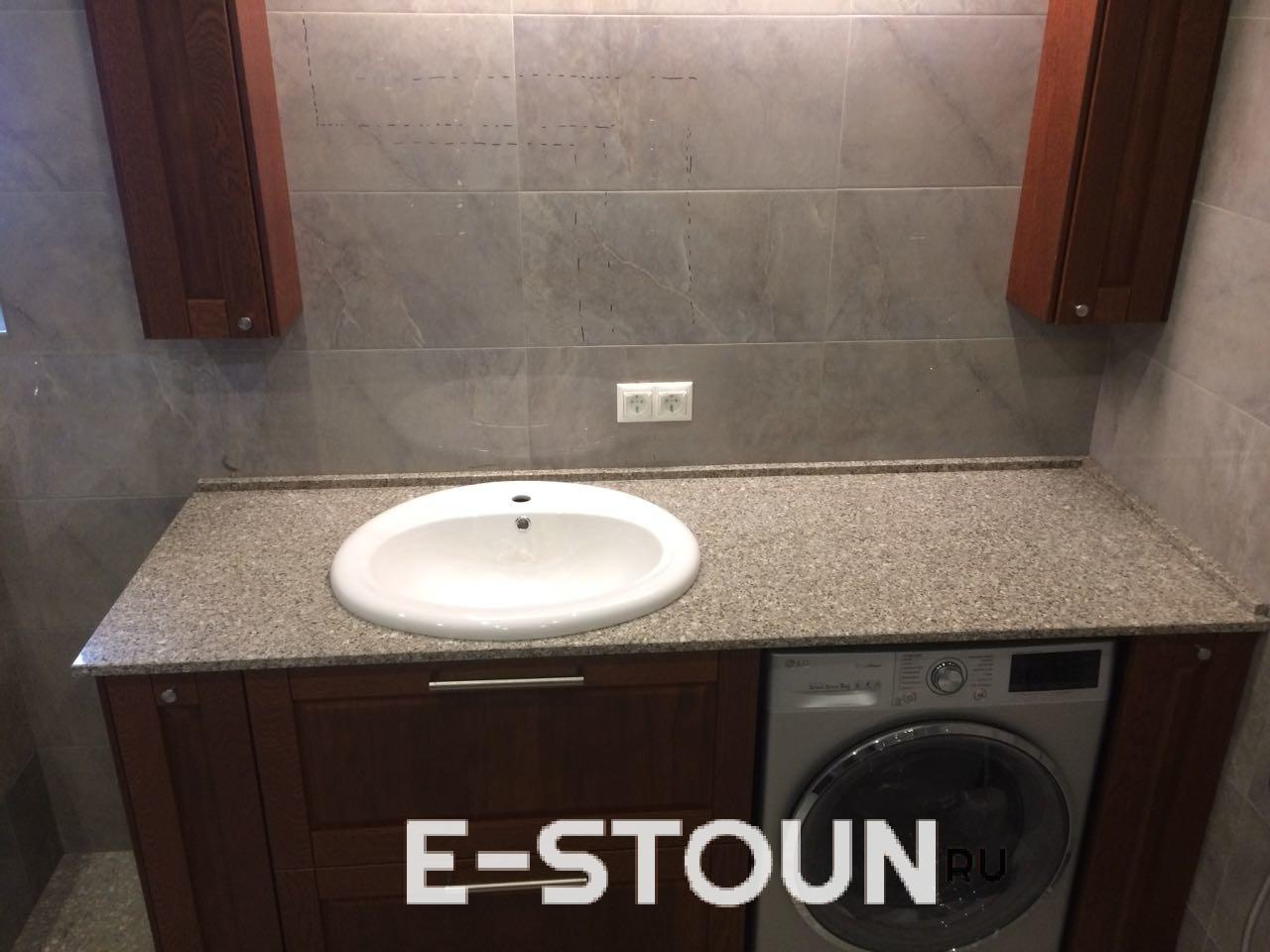 Столешница в ванную комнату из камня толщиной 20 мм. Материал кварц Samsung Radianz IG910
