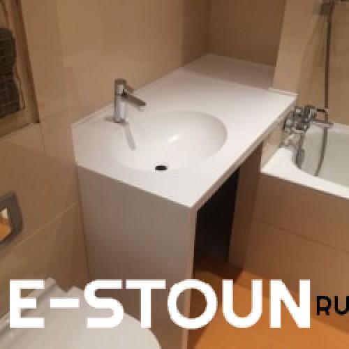 Столешница из камня в ванную комнату: материал искусственный камень Tristone Pure White A104